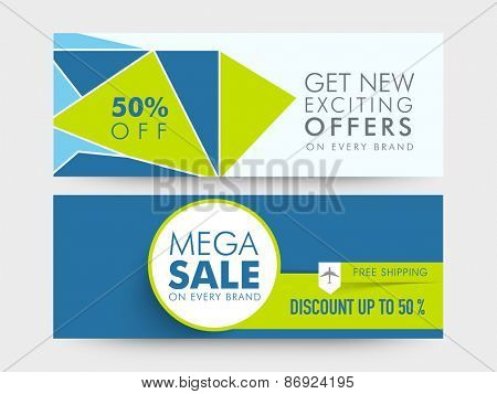 Mega Sale website header or banner set with free shipping and 50% discount offer on every brand.