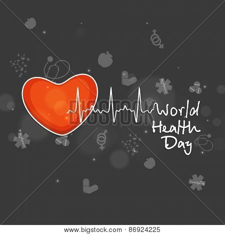 World Health Day concept with illustration of red heart and heart beats on medical background.