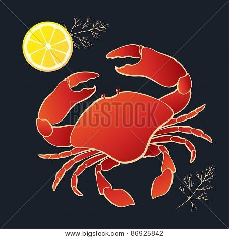Crab with lemon and dill