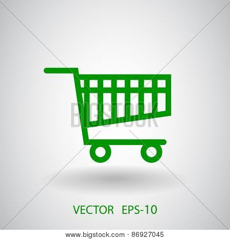 Flat icon of shopping cart
