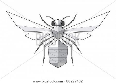 Bee. Low polygon linear illustration
