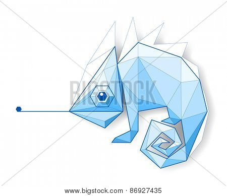 Chameleon. Low polygon linear illustration
