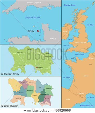 Map of administrative divisions the Bailiwick of Jersey