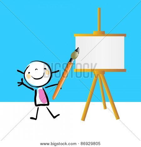 Little girl painting on easel, cute smiling artist kid. Happy kids, educational doodle style sketchy vector illustration.