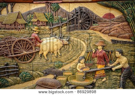 Molding Art Of Thai Rural Life Style