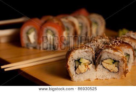 Japanese food. Sushi. Rolls.