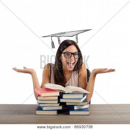 Student arrives at graduation