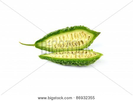 Fresh Bitter Melon Isolated On White Background