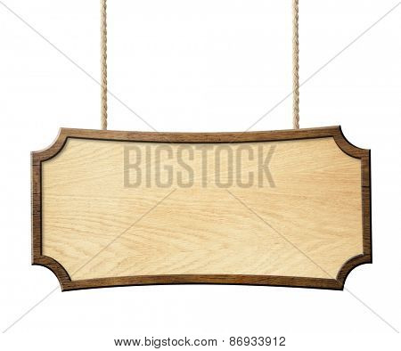 wood sign hanging on ropes isolated on white