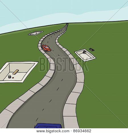 Road Between Housing Foundations