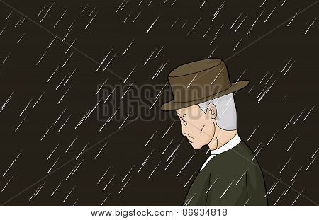 Serious Man In Rain