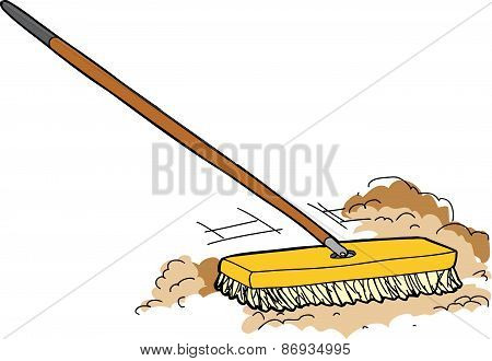 Cartoon Push Broom Sweeping