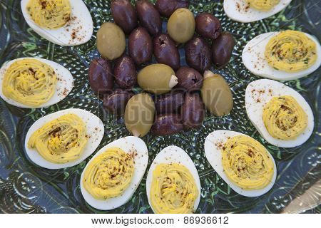 Deviled Eggs And Olives Before Dinner
