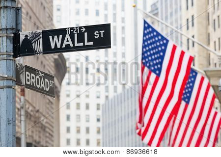 Wall street, New York, USA.