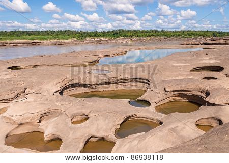 Grand Canyon Amazing Of Rock In Mekong River, Ubonratchathani Thailand