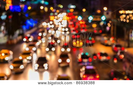 Abstact Blur Bokeh Of Evening Traffic Jam On Road In City