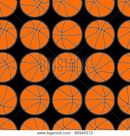 Basketball With Stitching Detail Seamless Pattern