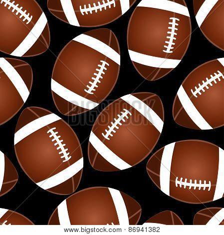 Football On Black Seamless Pattern