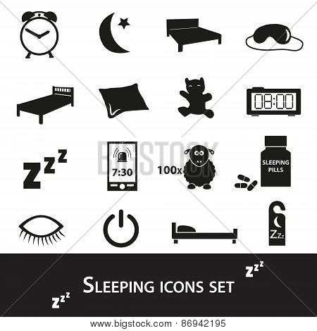 Sleeping Time Simple Black Icons Set Eps10