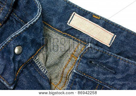 Jeans With Blank White Cloth Label