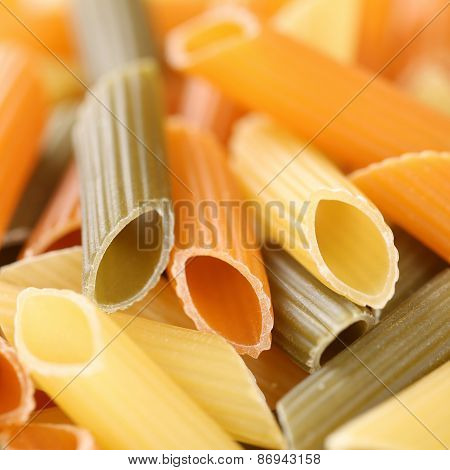 Colorful Raw Penne Rigatoni Noodles Pasta With Copyspace