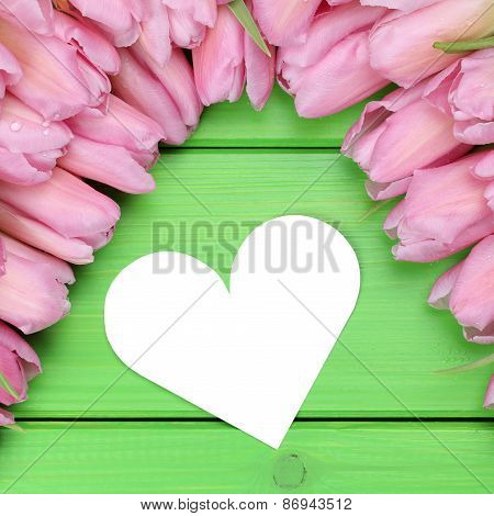 Tulips Flowers With Heart On Mothers Or Valentine's Day And Copyspace