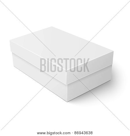 White cardboard shoebox template.