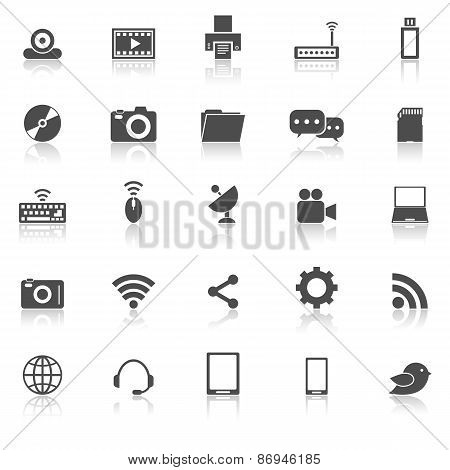 Hi-tech Icons With Reflect On White Background