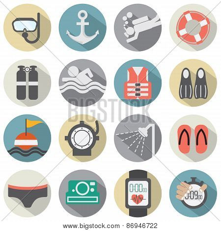 Flat Design Diving Icon Set.