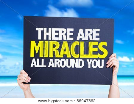 There Are Miracles All Around You card with beach background