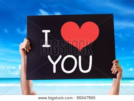 I Love You card with beach background