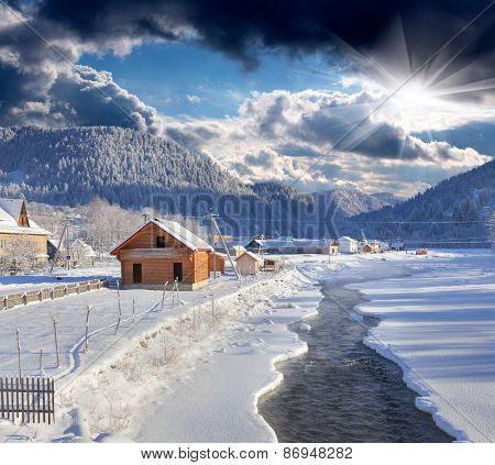 Frosty Morning In The Mountain Village.