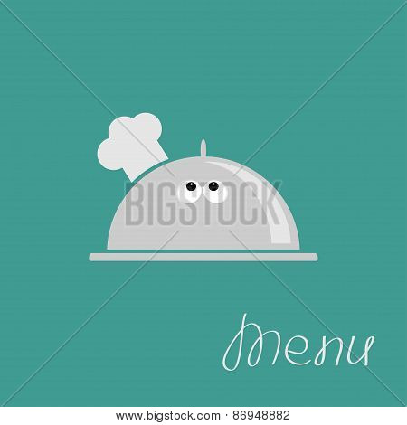 Silver Platter Cloche Chef Hat With Eyes. Menu Card Flat Design