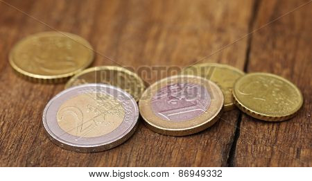 British Pound And Euro Coins