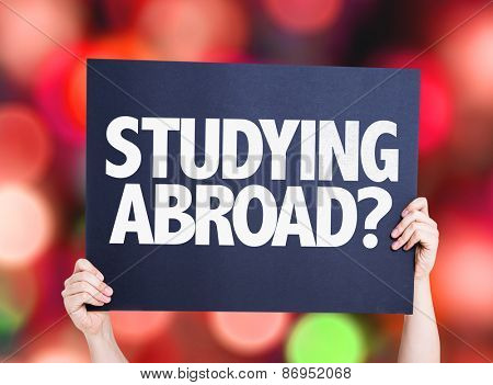 Studying Abroad? card with bokeh background