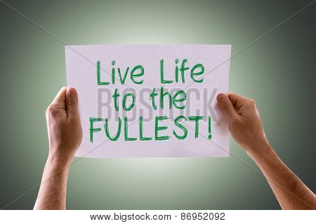 Live Life to the Fullest card with green background
