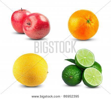 Red Apples fresh diet fruit with vitamins, Fresh orange fruit, Ripe melon and Fresh limes sliced iso