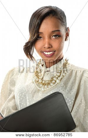 Young African American businesswoman holding folder