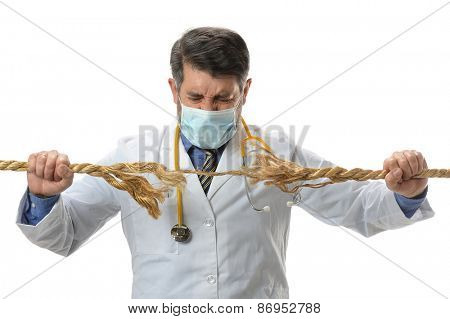 Doctor holding frayed rope isolated over white background