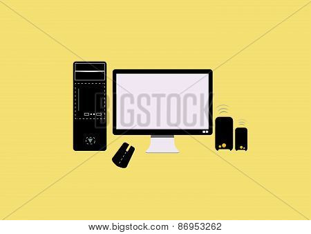 set of personal computer (monitor, mouse, speaker) vector illustration