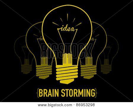 brainstorming, creative light bulb idea abstract infographic. vector illustration