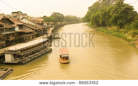 Suphan Buri, Thailand, March 2015 : Traditional Transport By Boat