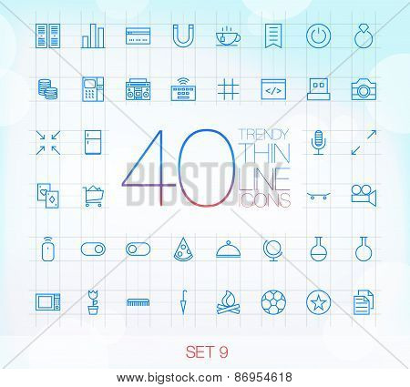 40 Trendy Thin Icons for web and mobile Set 9