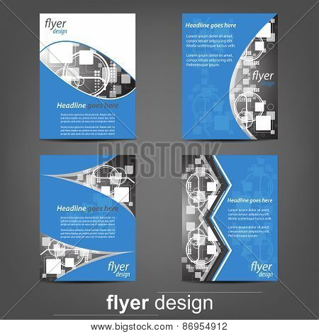 Set of business flyer templates - Blue Technology