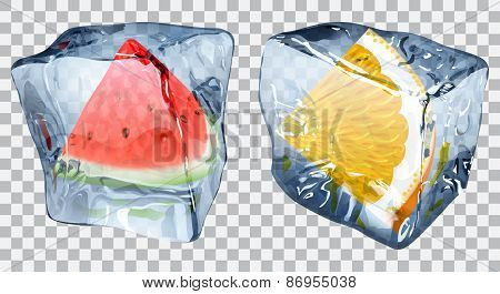 Transparent Ice Cubes With Slices Of Watermelon And Orange