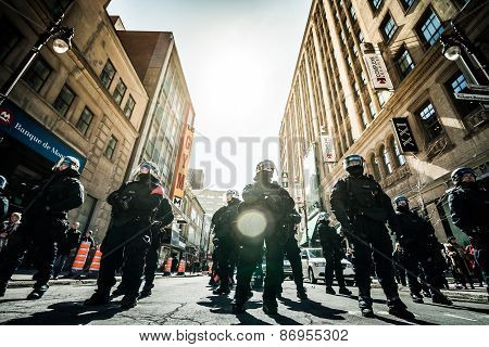 Epic Group Of Cops Ready To React In Case Of Problem With Protesters.