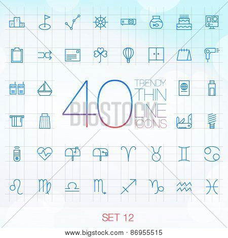 40 Trendy Thin Icons for web and mobile Set 12