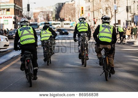 Four Cops Using Bike For Fast And Easy Moving.