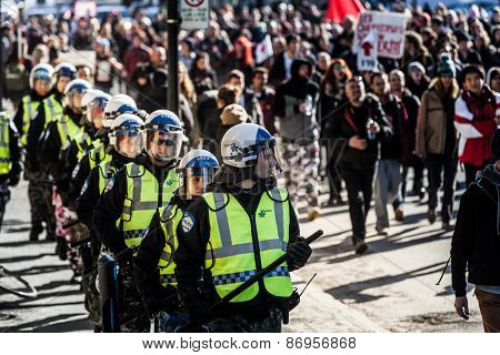 Cops Following The Marchers To Make Sure Everything Is Under Control