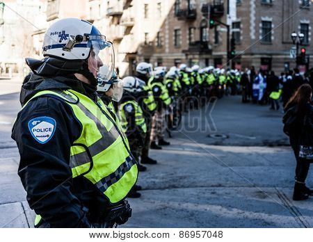 Cops Making A Line To Control The Protesters